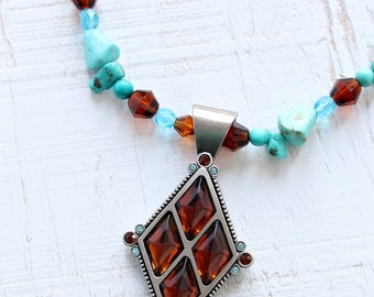 Turquoise Bead and Genuine Swarovski Crystal Necklace, signed Myka - Designed and Made in Canada