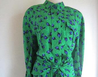 True vintage 80s silk dress sporting dress 100% silk l