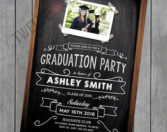 Printable Graduation Invitation - Chalkboard Photo Invite - Chalkboard Graduation Invite - Photo Graduation