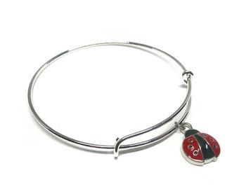 Lady Bug Bangle, Ladybug Bangle, Summer Bangle, Summer Jewelry, Summer Bracelet, Lady Bug Bracelet, Ladybug Bracelet, Ladybug Gift