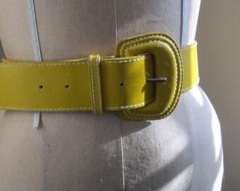Yellow Belt / Leather Belt By Omega / Vintage Belt