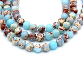 Snakeskin Jasper Beads 8mm Synthetic Snakeskin Jasper Aqua Terra Japser Blue Aqua Beads Rusted Red Beads