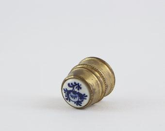 Vintage Brass Porcelain Thimble Sewing Notion - Delft Blue Flower