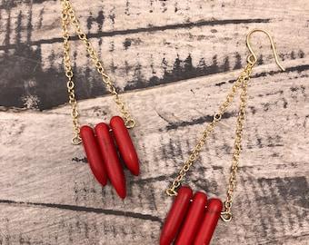 Red Tribal Chandelier Earrings