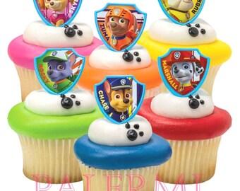 Paw Patrol Cupcake Toppers, Paw Patrol Cupcake Rings, Paw Patrol Cake Topper, Patrol Ruff Rescue Toppers, Paw Patrol Party Favors