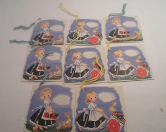 Art Deco Original 8 Tally Cards Bridge game New Old Stock Deco Clothing Girl with Ducks Use or Repurpose