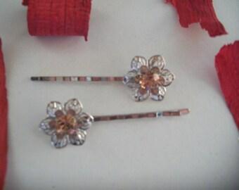 Silver with swarovski flower Barrette