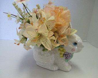 Easter arrangement white ceramic bunny Silkflower arrangement Centerpiece Spring OOAK