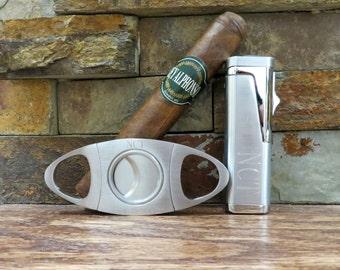Cigar Torch Lighter w Cigar Cutter Set - Personalized- Cigar Set - Mens Gift- Groomsmen- Fathers Day- Wedding- Anniversary- Birthday