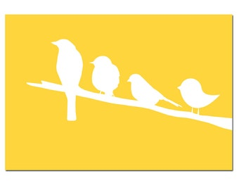 Birds on a Branch Nursery Decor - 11x17 Nursery Art Print - CHOOSE YOUR COLORS - Shown in Pink, Yellow, Gray and More