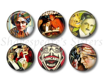 Magician Magnets - Fridge Magnets - Magic Decor - 6 Magnets - 1.5 Inch Magnets - Kitchen Magnets