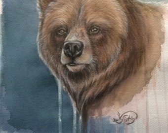 "Original ""brown bear"" watercolor acrylic mixing technique"