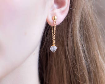 Raw Diamond Drop Earrings, Dainty Gemstone Earring, Bridesmaid Gift, Gold Stud and Chain Earrings, Minimalist Jewelry, Natural Diamond Stone