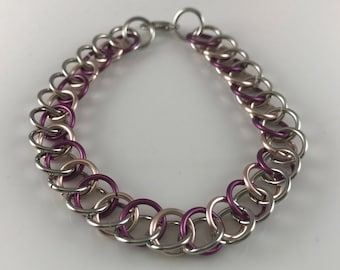 Sale 25% off Purple Silver and Rose Gold Half Persian Chainmaille Bracelet