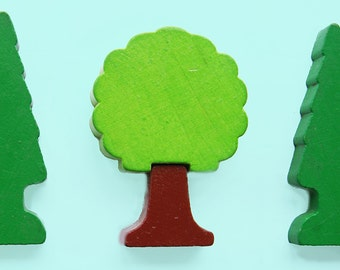 Colorful brooch, wood pine tree, play blocks, reuse recycle, geometric shape, green brown, forest wooden