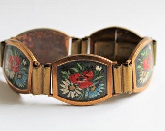 French bracelet. Vintage flower bracelet. Vintage jewellery
