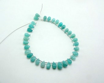 """Natural Amazonite Faceted Teardrop Gemstone Loose Beads 8-10mm 50cts 8"""" Strand"""