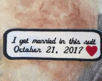 Tie Patch, Grooms Gift, Wedding Gift, Wedding Keepsake, Personalized Tie Patch, Wedding Tie Patch,