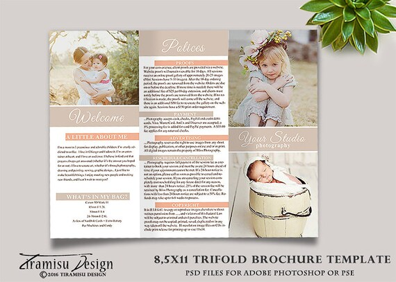 Family Photography Trifold Brochure Template Client Welcome