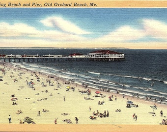 Old Orchard Beach, Maine, Bathing Beach, Pier - Postcard - Vintage Postcard - Unused (TT)