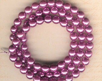 8mm Jablonex Purple Orchid Czech Glass Pearl Beads, 75 pieces, 8mm Purple Glass Pearl, 8mm Orchid Pearl, 8mm Mauve Pearl, Orchid Pearl Bead