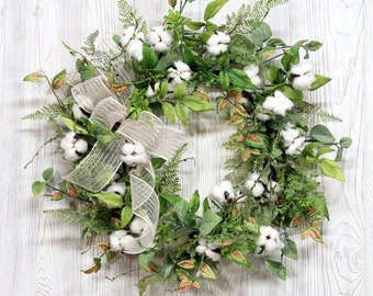 Farmhouse Cotton Wreath, Cotton Bolls,  Rustic Cotton Wreath, Cotton Boll Wreath, Cotton Wreaths, 2nd Anniversary Gift, Farmhouse Home Decor