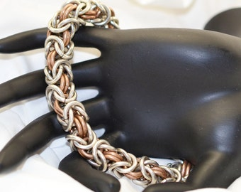 Men's 12 gauge Sterling Silver and Bronze Byzantine Chainmaille Bracelet