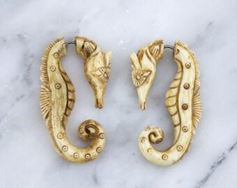 Seahorse Stained Bone Hangers / Fake Gauges Earrings