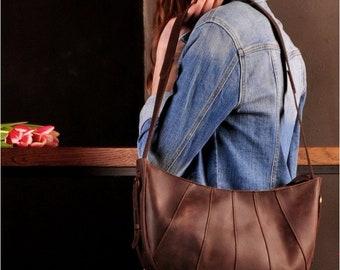 Leather brown hobo bag Leather brown messenger bag  Brown shoulder hobo bag Womans brown hobo bag Leather zip brown bag
