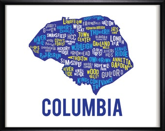 Columbia Maryland Neighborhood Map Art-FREE SHIPPING
