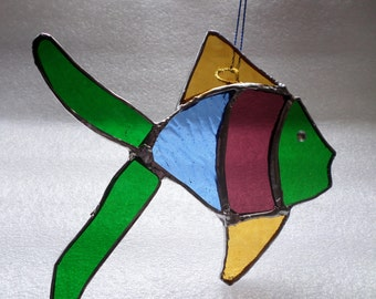 Stained glass rainbow fish, suncatcher, hanging decoration.