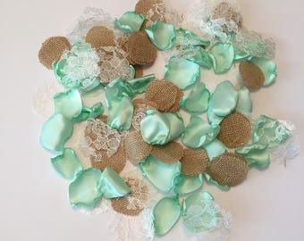 Mint Rustic Rose Petals/Flower Girl Petals/Rustic Wedding Petals/Mint Rose Petals/Flower Petals/Mint Wedding/Burlap Petals/Light Mint Petals