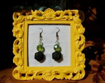 Green Geodesic Earrings