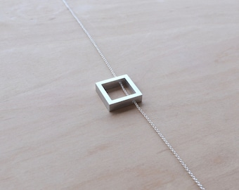 Minimalist Necklace Contemporary Jewelry Floating Square Aluminum Necklace