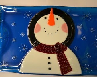 Snowman Serving Tray, Fused Glass, Platter, Christmas Tray, Christmas Decor, Winter Decor, Snowman Decor