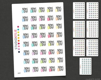News Day Planner Stickers - Repositionable Matte Vinyl to suit all planners