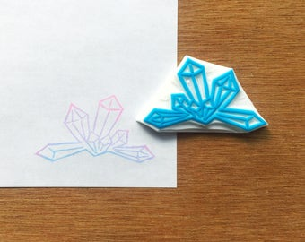 Crystal stamp, geode rubber stamp, gem eraser stamp, crystal cluster stamp, handmade pattern rubber stamp, hand carved stamp