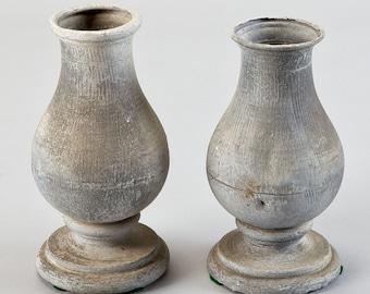 Vintage Pair of Zinc Balustrades, C.1930 Industrial Vases [3587]