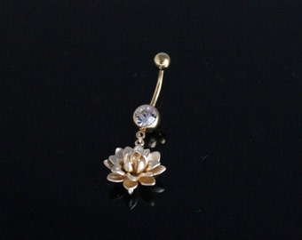 Gold Lotus Blossom Belly Ring IP Body Piercing Navel Flower
