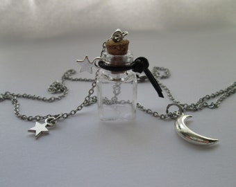 Moon and star necklace with glass bottle for filling