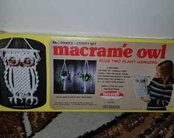 Beginners activity set macrame owl plus to plant hangers/NEW!! OLD STOCK!!!