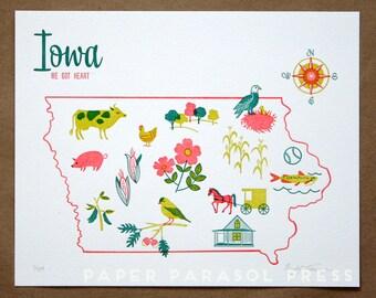 Iowa State Letterpress Print 8x10