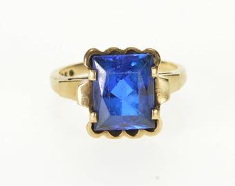10k Spinel* Emerald Cut Scalloped Bezel Ring Gold