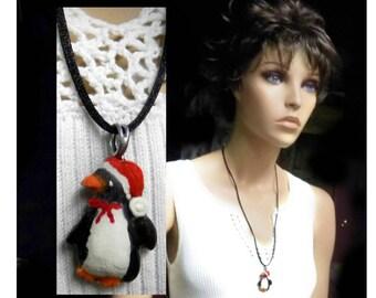 Penguin necklace - penguin jewelry, Christmas necklace, Holiday necklace,Xmas penguin necklace, Christmas party necklace,,    # J 2