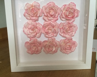 Box framed flowers. Roses in a white shadow box.
