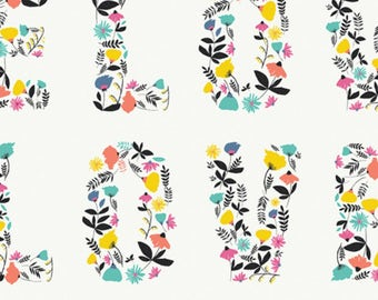 SALE - Art Gallery - Capsules Letters Collection - Love Blooms in Multi