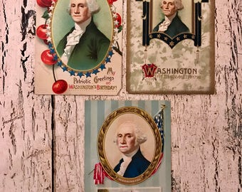 3 Vintage Patriotic Postcards - Washington's Birthday - 1914-1920s - Beautiful for Mixed Media and Crafts