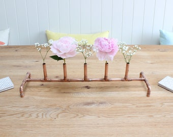Copper Wedding Table   Wedding Centre Piece   Candle Holder   Flowers   Copper Pipe   Industrial   Metal   Rose Gold   Copper Anniversary
