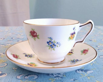 Crown Staffordshire Tea Cup & Saucer, Rose Pansy Pattern