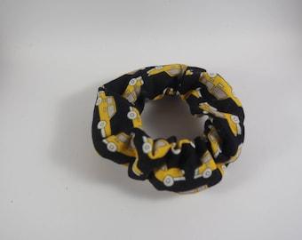 Yellow Taxi Print Hair Scrunchie